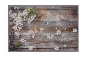 Impression flowers on wood